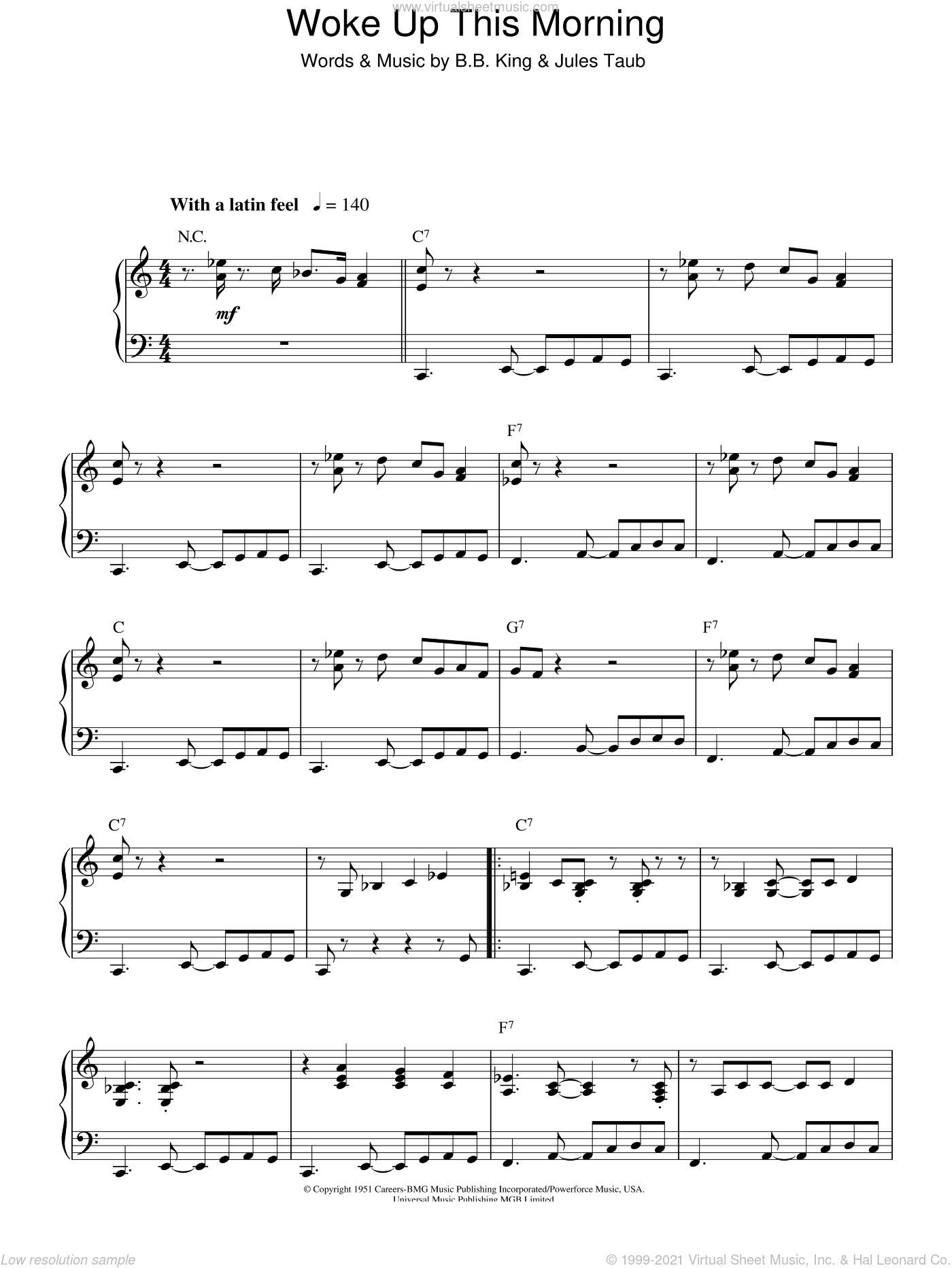 Woke Up This Morning sheet music for piano solo by B.B. King and Jules Taub, intermediate skill level