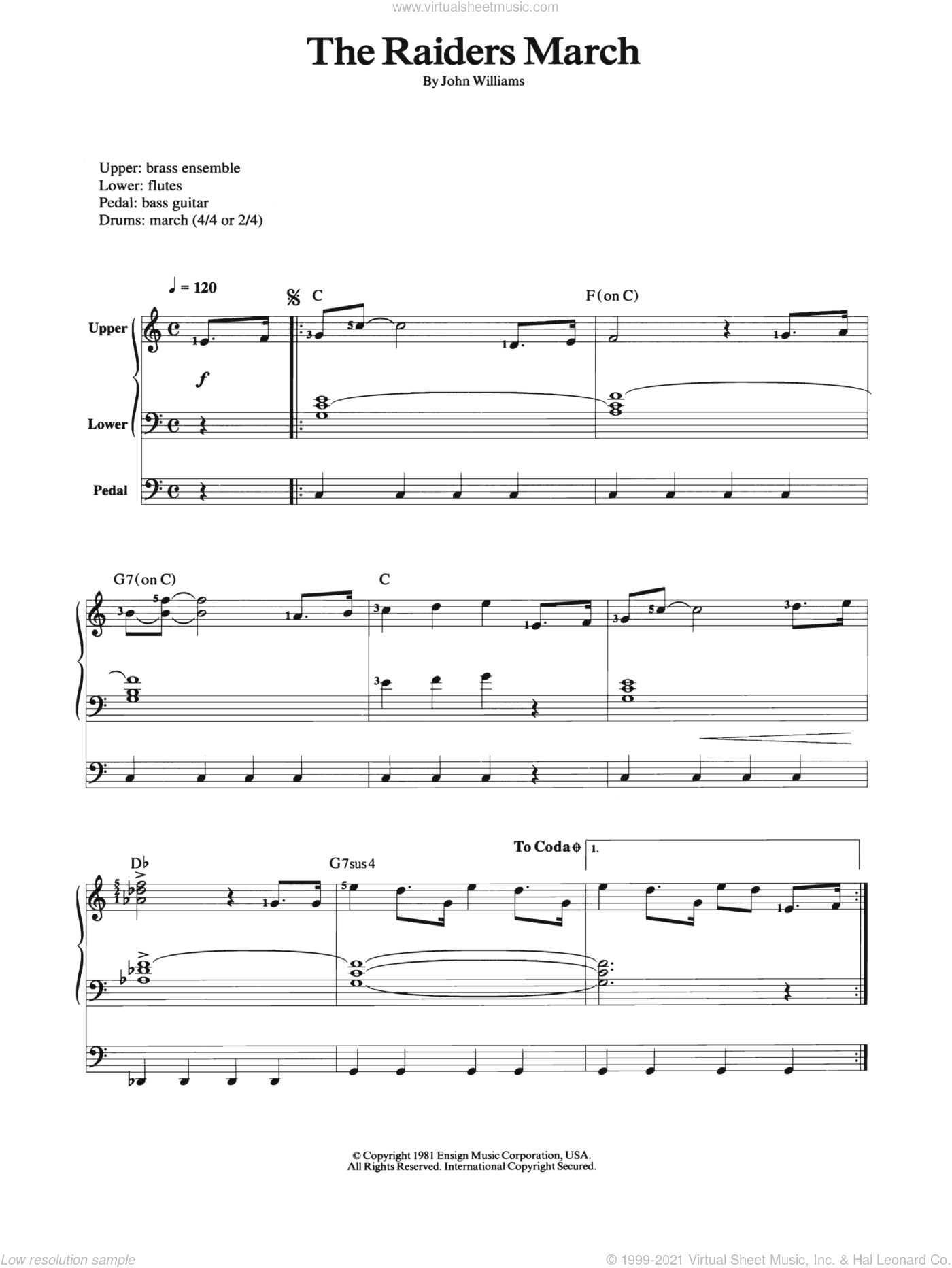Raiders March sheet music for organ by John Williams, intermediate. Score Image Preview.