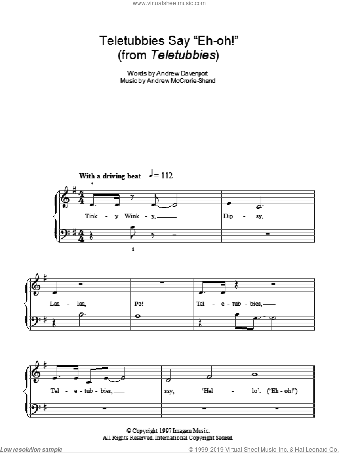 Teletubbies Say 'Eh-oh!' sheet music for piano solo by Andrew Davenport and Andrew McCrorie-Shand, easy skill level