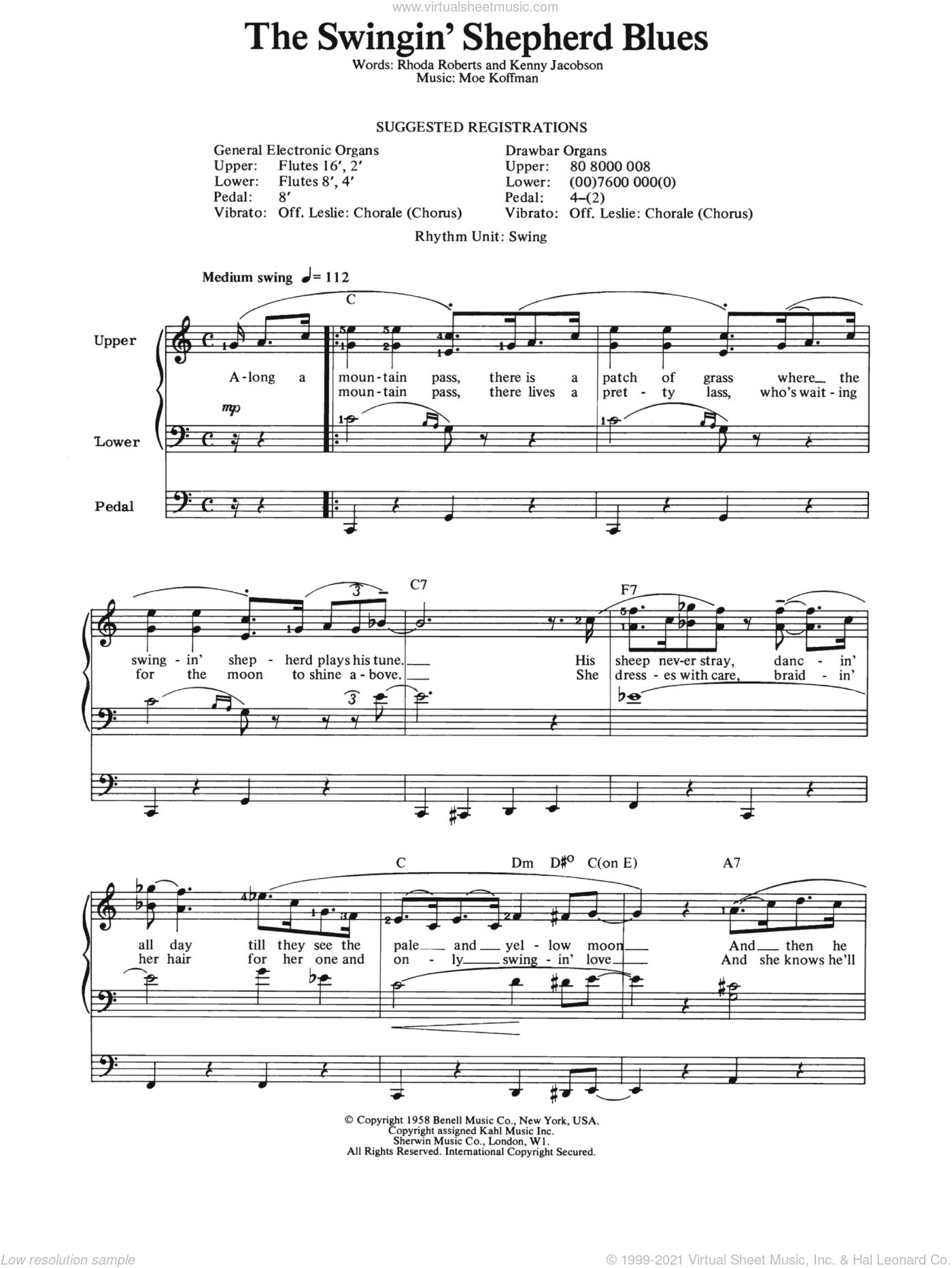 Swingin' Shepherd Blues sheet music for organ by Moe Koffman, intermediate. Score Image Preview.