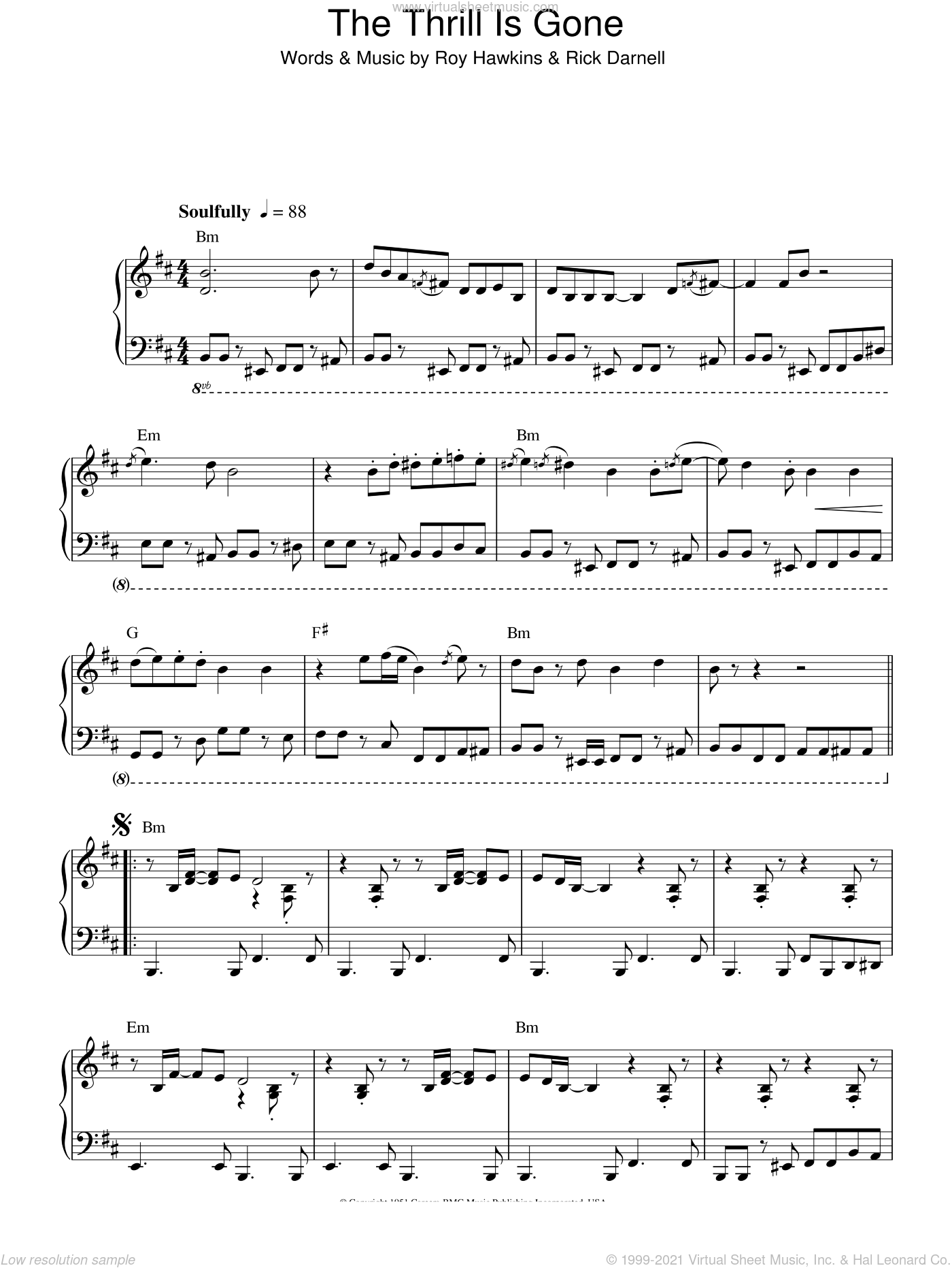 The Thrill Is Gone sheet music for piano solo by Roy Hawkins, B.B. King and Rick Darnell. Score Image Preview.