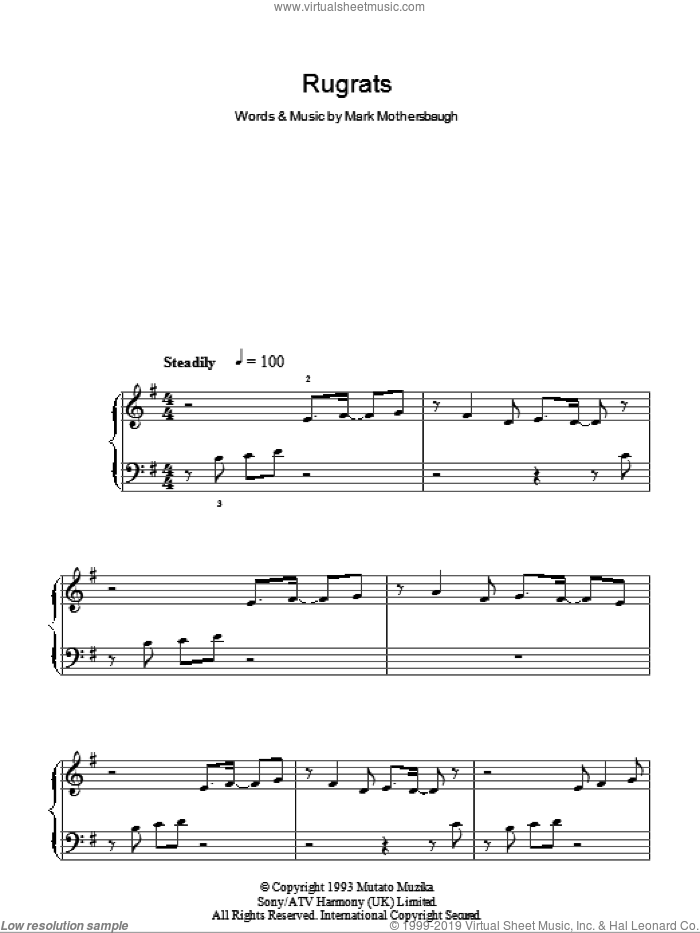 Rugrats sheet music for piano solo by Mark Mothersbaugh, easy skill level