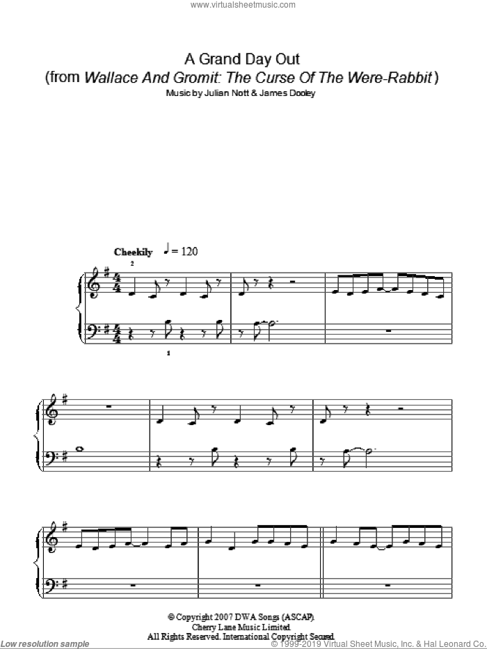 A Grand Day Out sheet music for piano solo by James Dooley and Julian Nott. Score Image Preview.