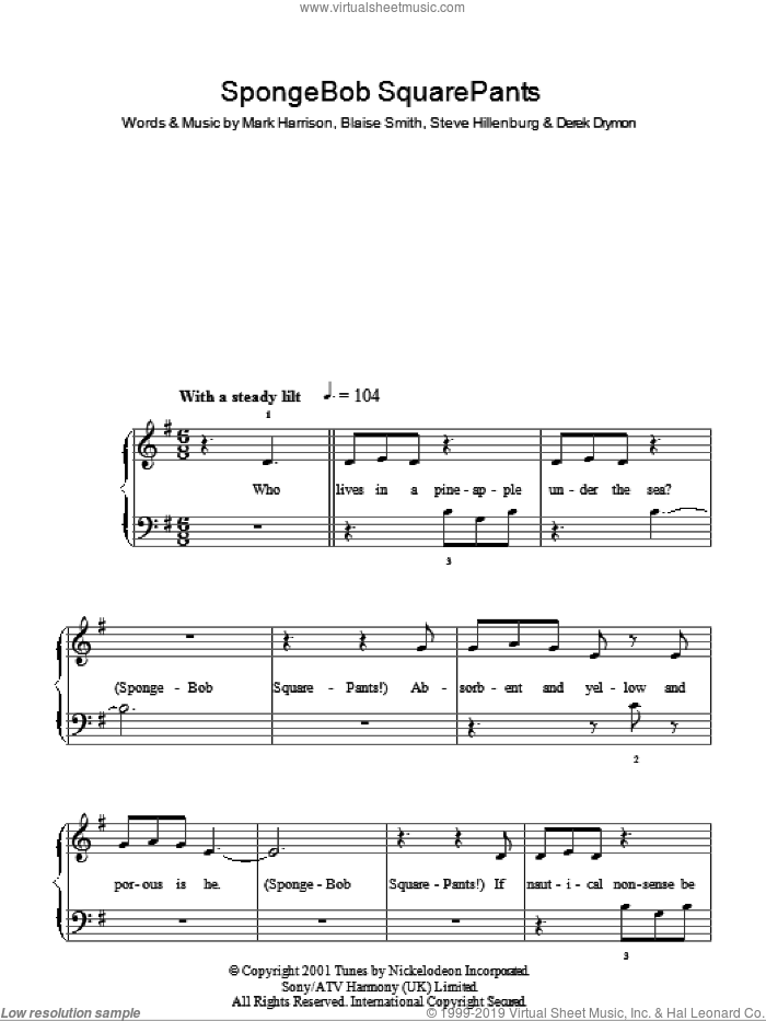 SpongeBob SquarePants Theme Song sheet music for piano solo (chords) by Steve Hillenburg