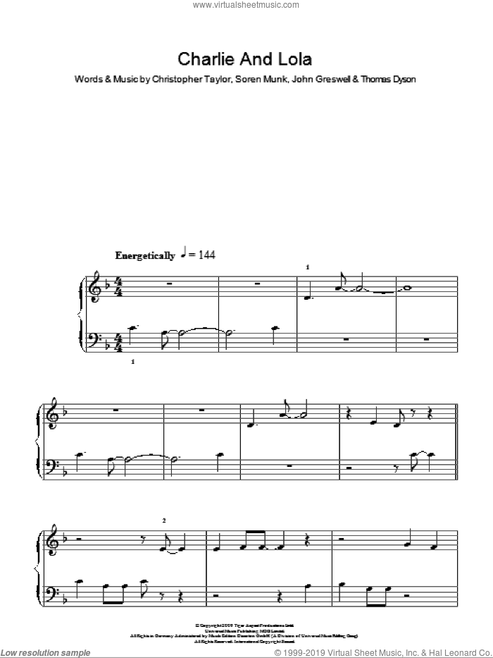 Charlie And Lola (Theme) sheet music for piano solo by Christopher Taylor, John Greswell, Soren Munk and Thomas Dyson, easy