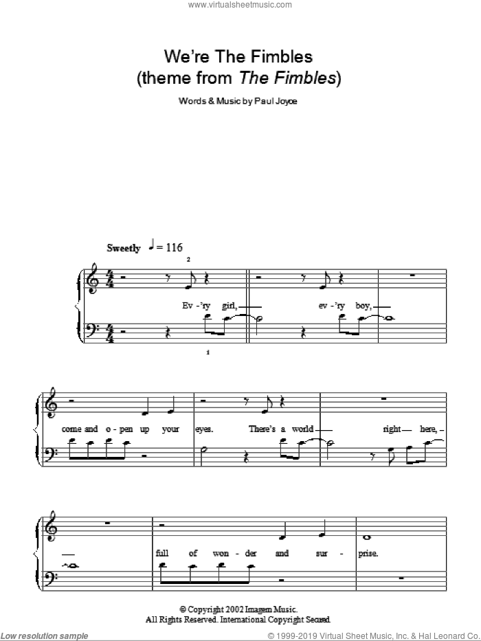 We're The Fimbles sheet music for piano solo by Paul Joyce. Score Image Preview.