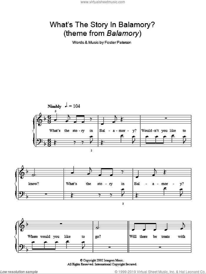 What's The Story In Balamory sheet music for piano solo by Foster Paterson