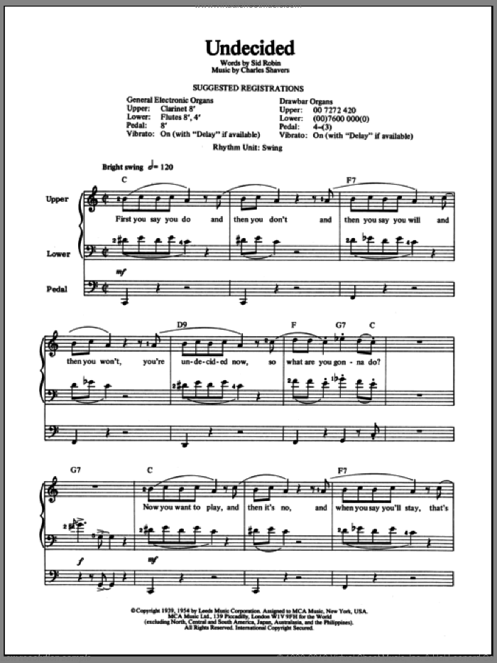 Undecided sheet music for organ by Ella Fitzgerald, Ella  Fitzgerald, Charles Shavers and Sid Robin, intermediate. Score Image Preview.