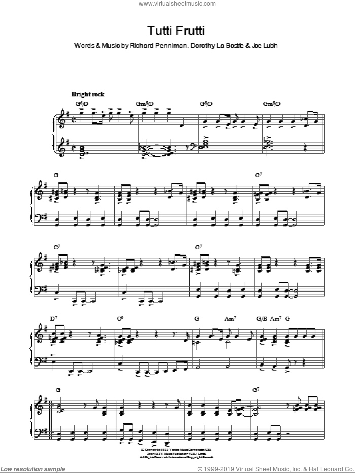 Tutti Frutti sheet music for piano solo by Richard Penniman