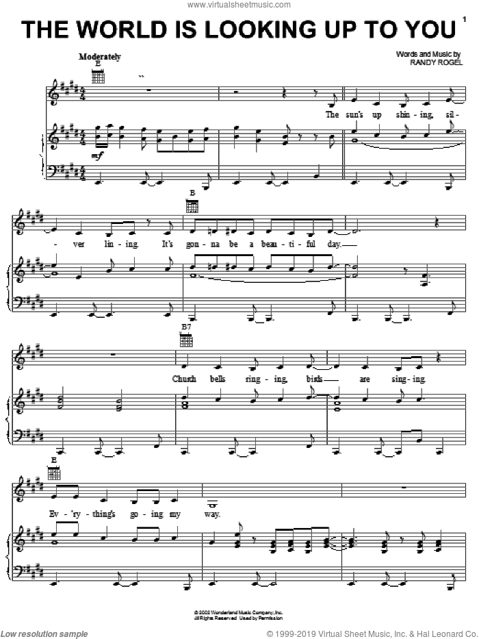 The World Is Looking Up To You sheet music for voice, piano or guitar by Randy Rogel. Score Image Preview.