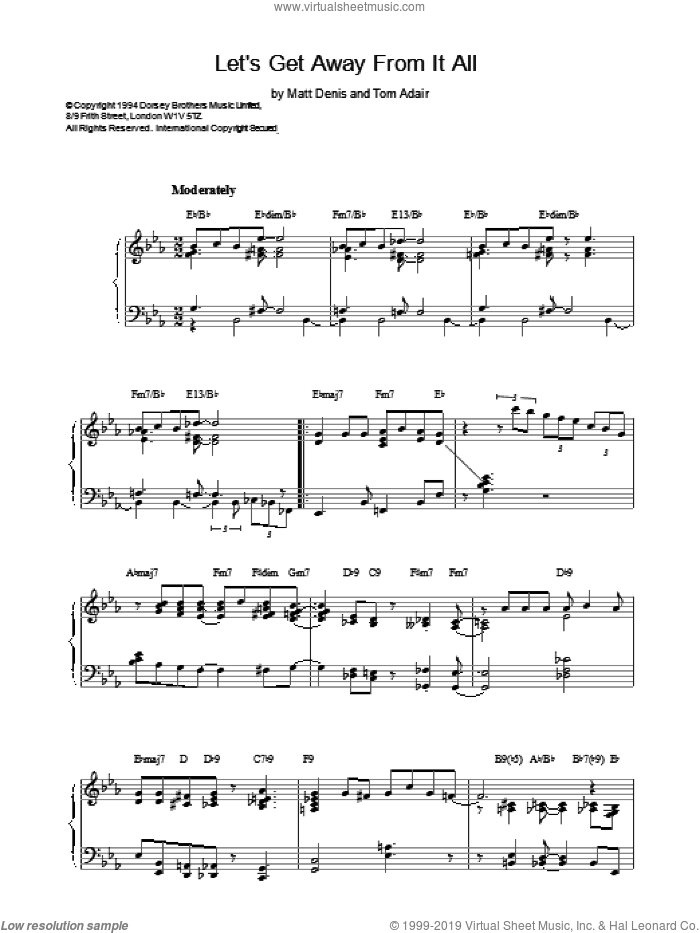 Lets Get Away From It All sheet music for piano solo by Frank Sinatra, Dave Brubeck, Tommy Dorsey and Tom Adair, intermediate piano. Score Image Preview.