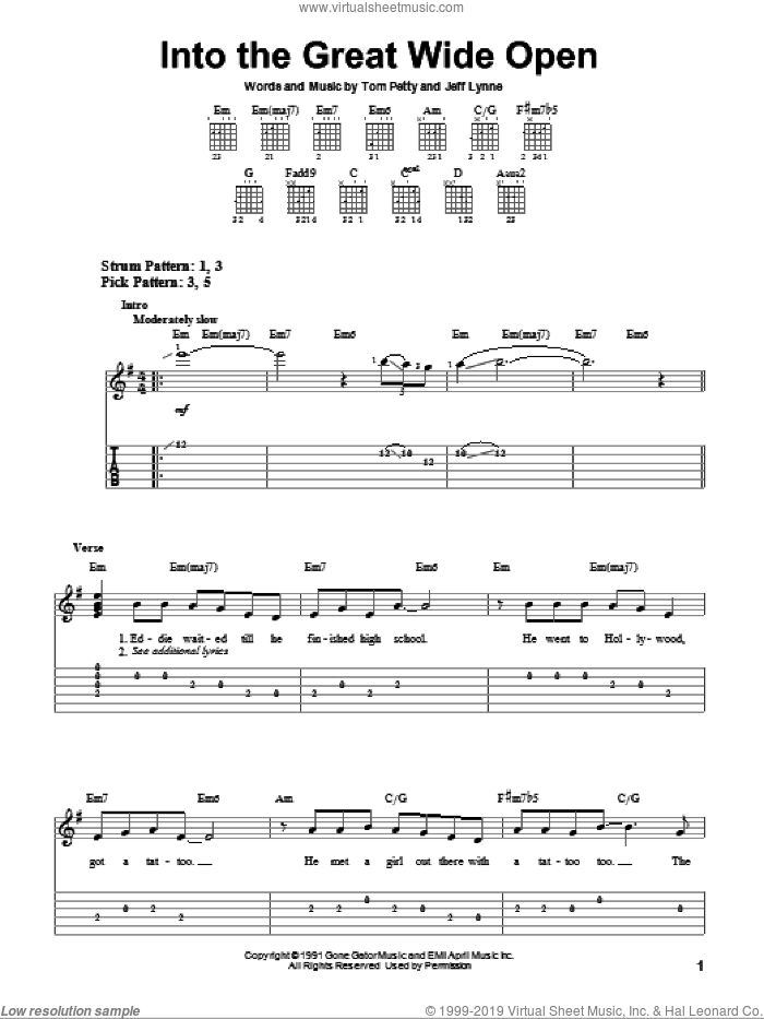 Into The Great Wide Open sheet music for guitar solo (easy tablature) by Tom Petty And The Heartbreakers, Jeff Lynne and Tom Petty. Score Image Preview.