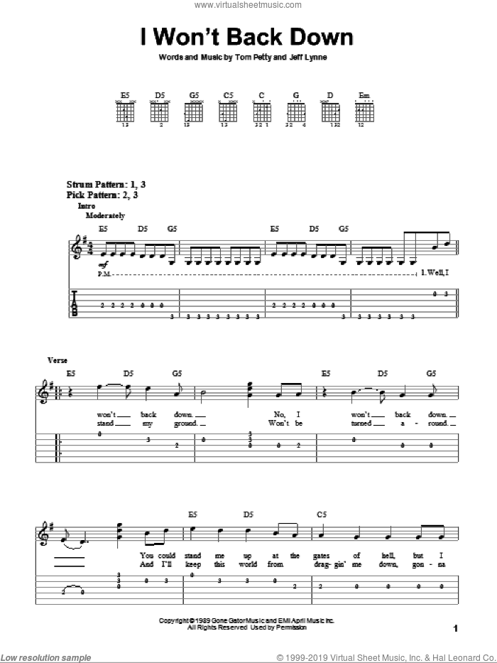 I Won't Back Down sheet music for guitar solo (easy tablature) by Jeff Lynne and Tom Petty. Score Image Preview.