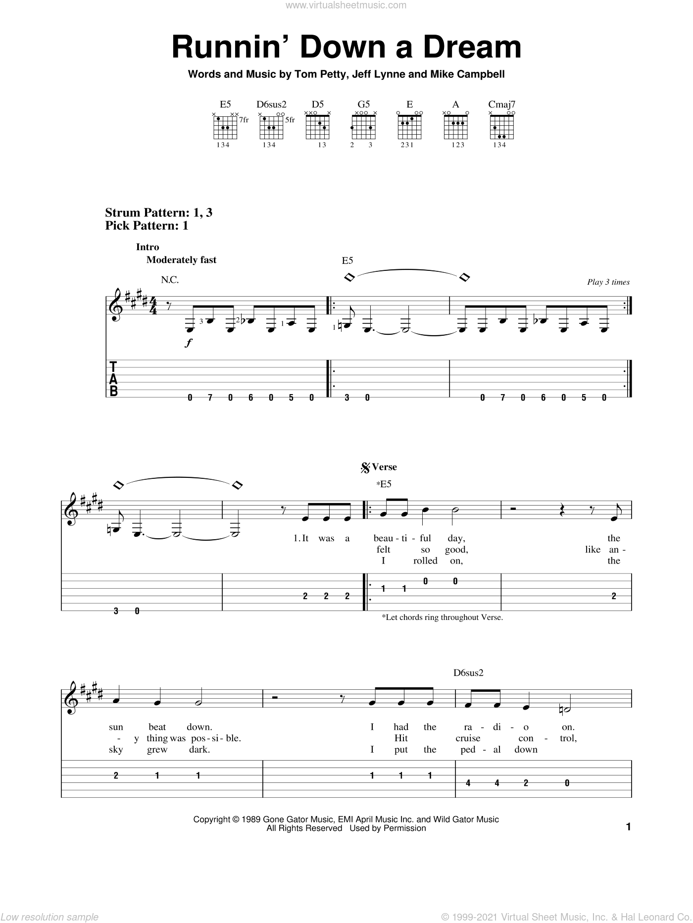 Runnin' Down A Dream sheet music for guitar solo (easy tablature) by Tom Petty, Jeff Lynne and Mike Campbell, easy guitar (easy tablature)