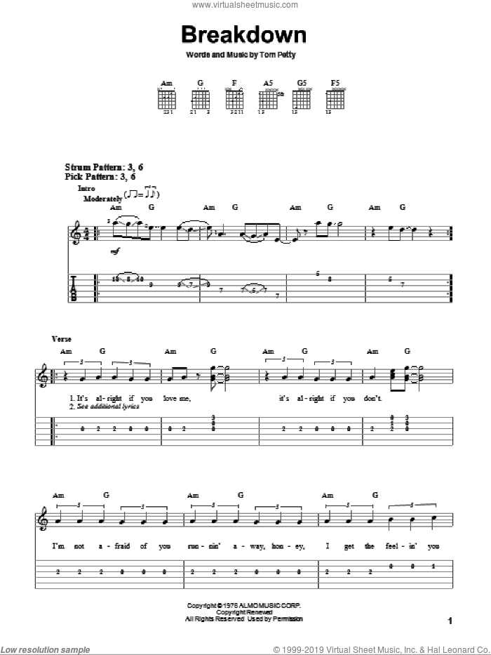 Breakdown sheet music for guitar solo (easy tablature) by Tom Petty And The Heartbreakers and Tom Petty, easy guitar (easy tablature)