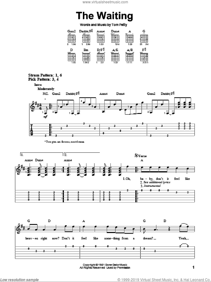 The Waiting sheet music for guitar solo (easy tablature) by Tom Petty And The Heartbreakers and Tom Petty, easy guitar (easy tablature)
