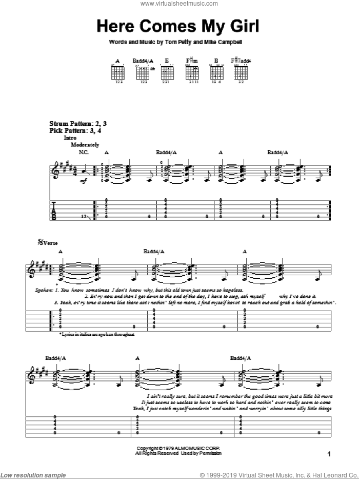 Here Comes My Girl sheet music for guitar solo (easy tablature) by Tom Petty And The Heartbreakers, Mike Campbell and Tom Petty, easy guitar (easy tablature). Score Image Preview.