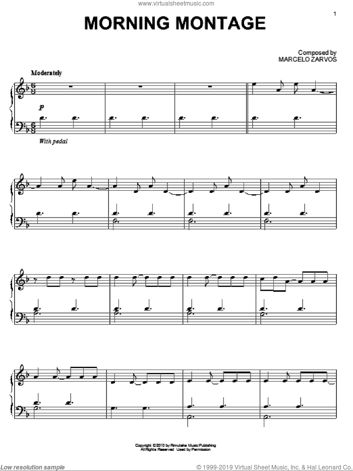 Morning Montage sheet music for piano solo by Marcelo Zarvos. Score Image Preview.