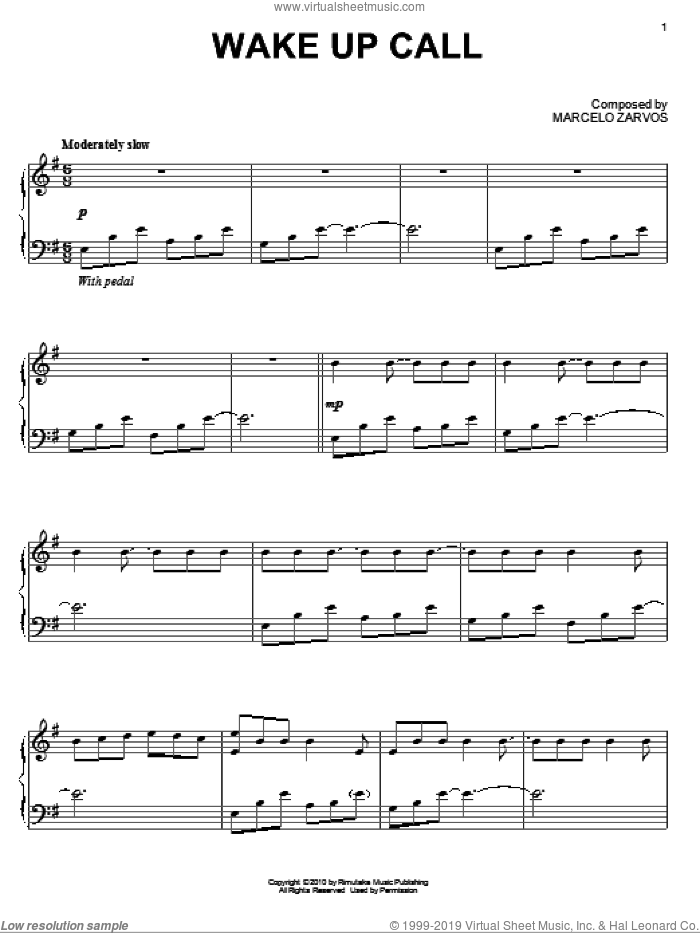 Wake Up Call sheet music for piano solo by Marcelo Zarvos
