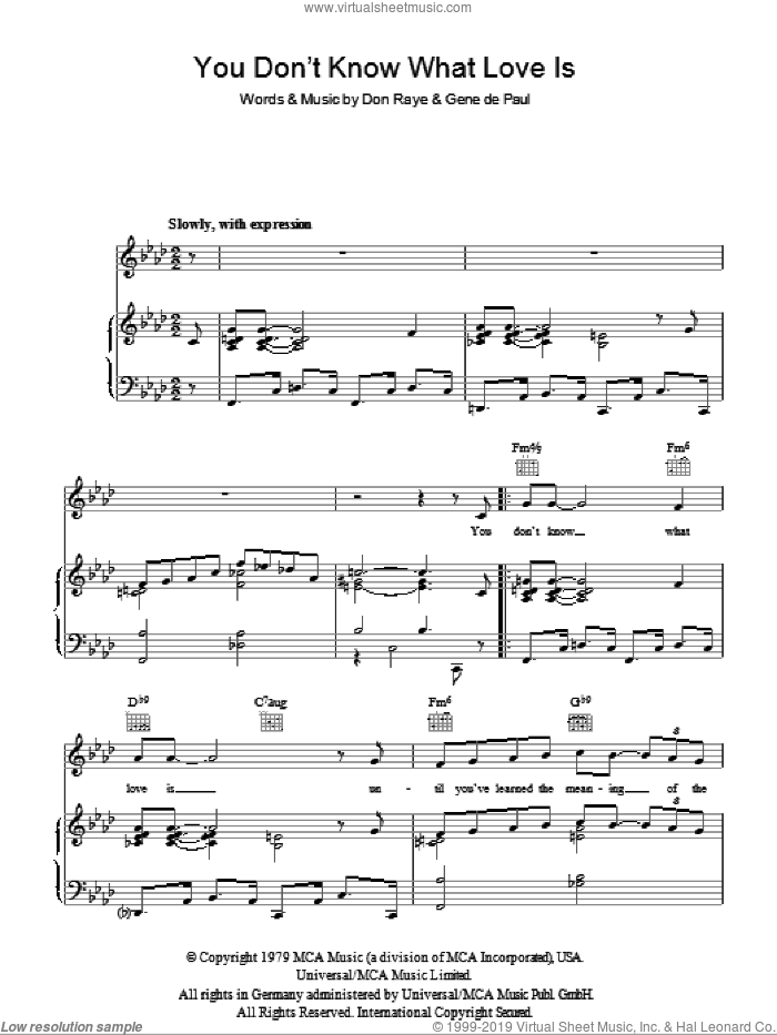 You Don't Know What Love Is sheet music for voice, piano or guitar by Andy Williams, Don Raye and Gene DePaul. Score Image Preview.