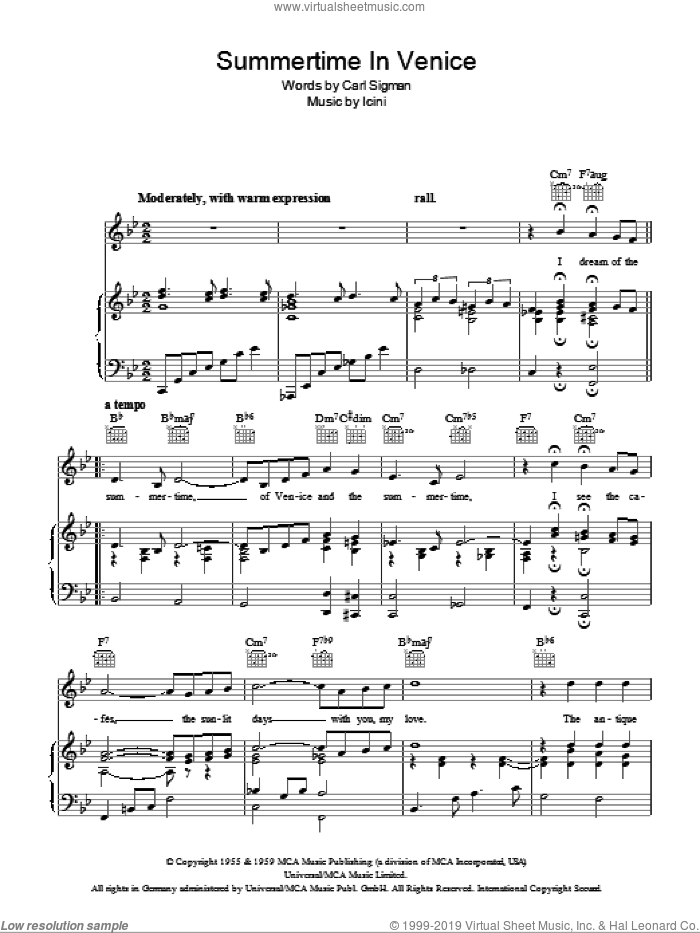 Summertime In Venice sheet music for voice, piano or guitar by Icini, Connie Francis and Carl Sigman. Score Image Preview.