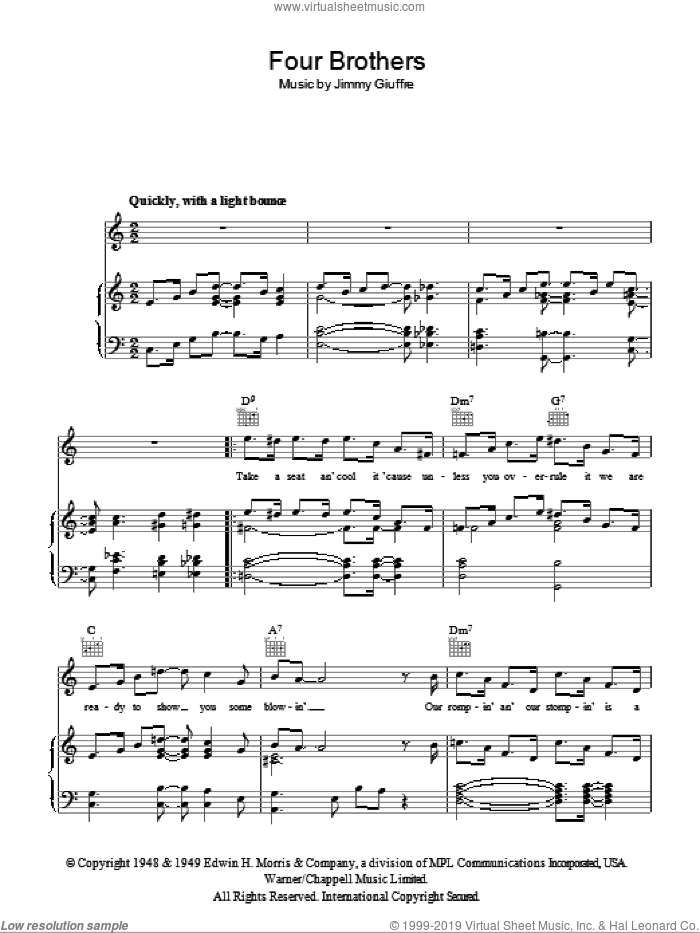 Four Brothers sheet music for voice, piano or guitar by Jimmy Giuffre