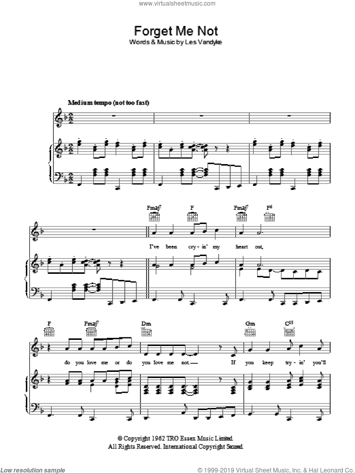 Forget Me Not sheet music for voice, piano or guitar by Les Vandyke. Score Image Preview.