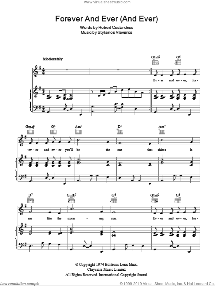 Forever And Ever (And Ever) sheet music for voice, piano or guitar by Stylianos Vlavianos, Engelbert Humperdinck and Robert Costandinos. Score Image Preview.