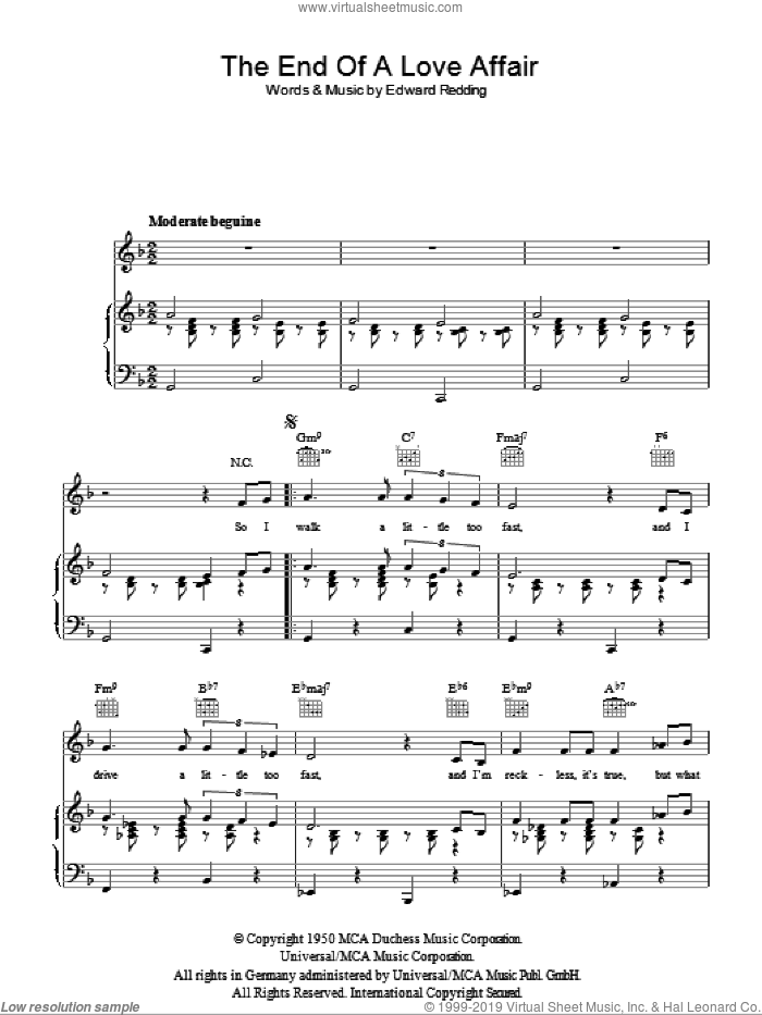 The End Of A Love Affair sheet music for voice, piano or guitar by Nat King Cole, Frank Sinatra and Edward Redding, intermediate skill level