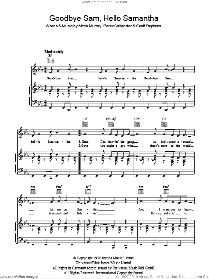 Goodbye Sam, Hello Samantha sheet music for voice, piano or guitar by Cliff Richard, Geoff Stephens, Mitch Murray and Peter Callander, intermediate. Score Image Preview.