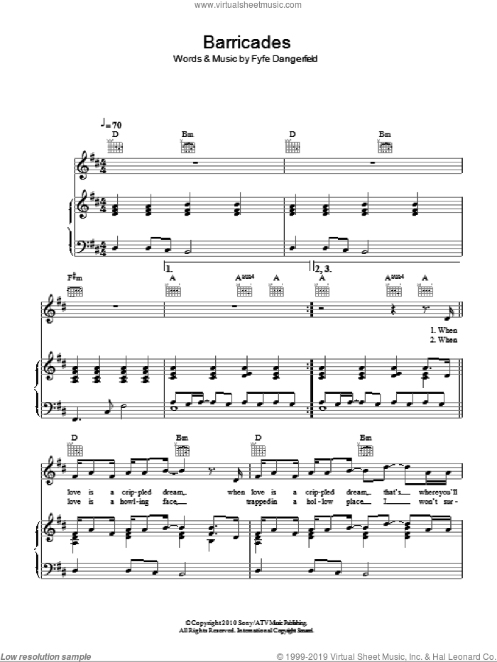 Barricades sheet music for voice, piano or guitar by Fyfe Dangerfield. Score Image Preview.