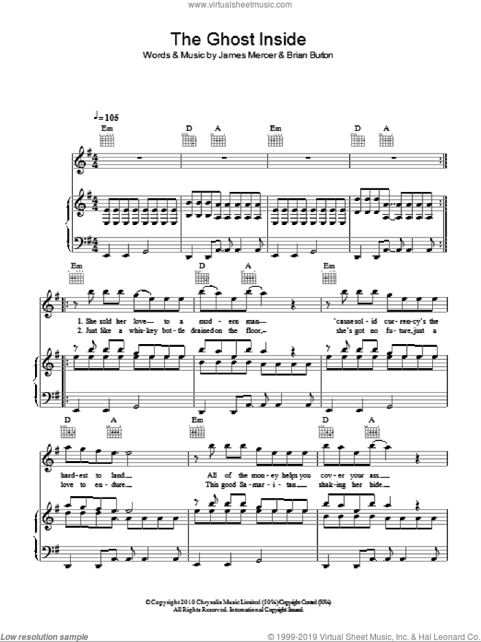 The Ghost Inside sheet music for voice, piano or guitar by Broken Bells. Score Image Preview.