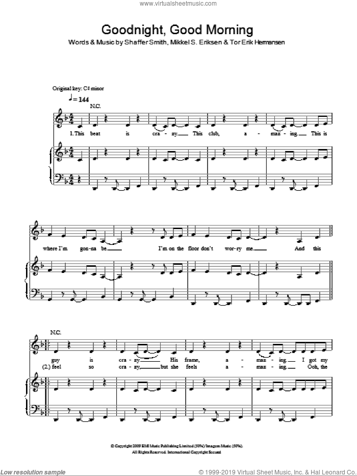 Good Night Good Morning sheet music for voice, piano or guitar by Alexandra Burke, Shaffer Smith and Tor Erik Hermansen. Score Image Preview.
