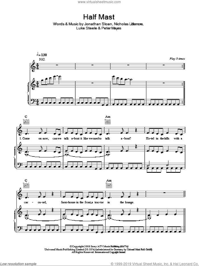 Half Mast sheet music for voice, piano or guitar by Peter Mayes, Jonathan Sloan, Luke Steele and Nicholas Littlemore. Score Image Preview.