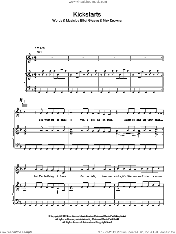 Kickstarts sheet music for voice, piano or guitar by Nick Douwma