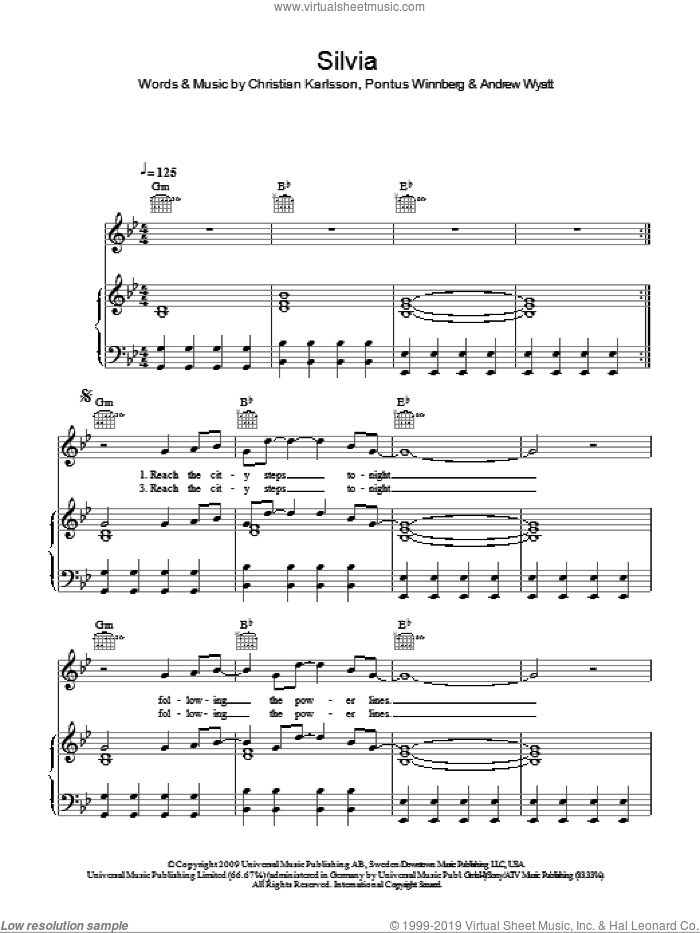 Silvia sheet music for voice, piano or guitar by Miike Snow and Andrew Wyatt, intermediate voice, piano or guitar. Score Image Preview.
