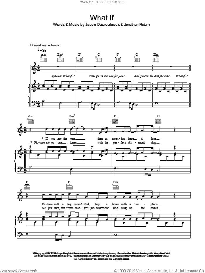 What If sheet music for voice, piano or guitar by Jason Derulo, Jason Desrouleaux and Jonathan Rotem, intermediate skill level