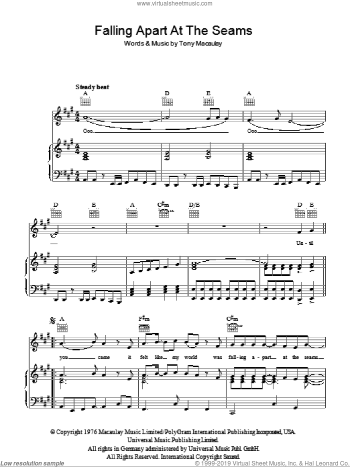 Falling Apart At The Seams sheet music for voice, piano or guitar by Tony Macaulay. Score Image Preview.