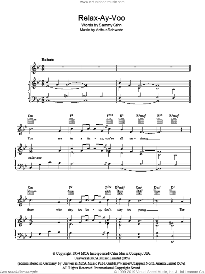 Relax-Ay-Voo sheet music for voice, piano or guitar by Sammy Cahn