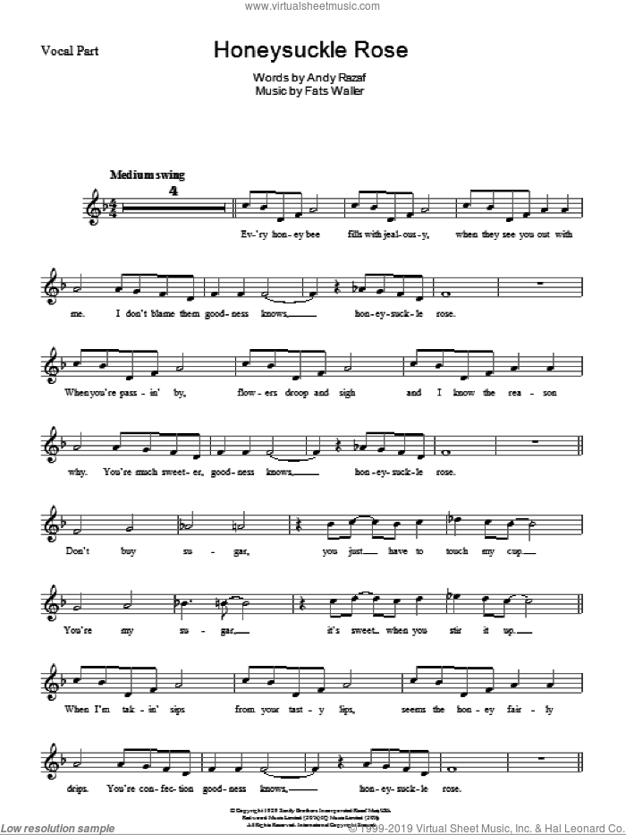 Honeysuckle Rose sheet music for voice and other instruments (fake book) by Andy Razaf and Thomas Waller. Score Image Preview.