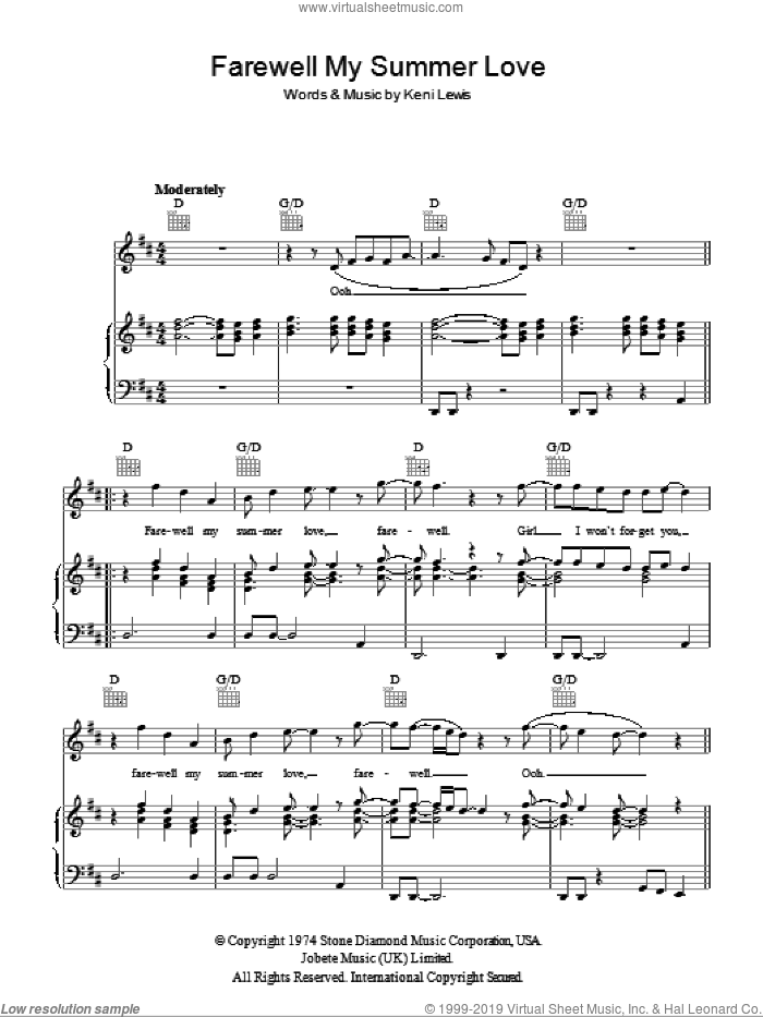 Farewell My Summer Love sheet music for voice, piano or guitar by Kenneth St. Lewis
