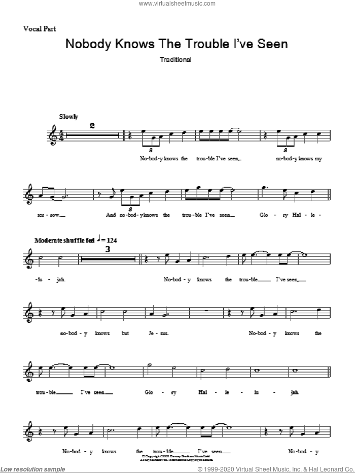 Nobody Knows The Trouble I've Seen sheet music for voice and other instruments (fake book). Score Image Preview.
