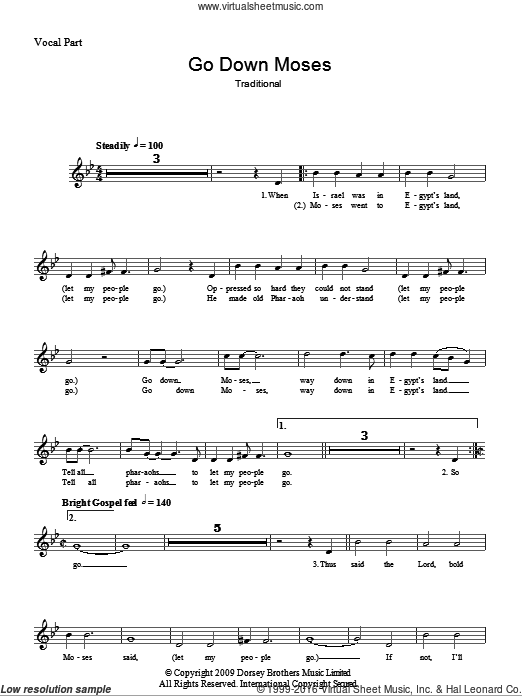 Go Down Moses sheet music for voice and other instruments (fake book). Score Image Preview.