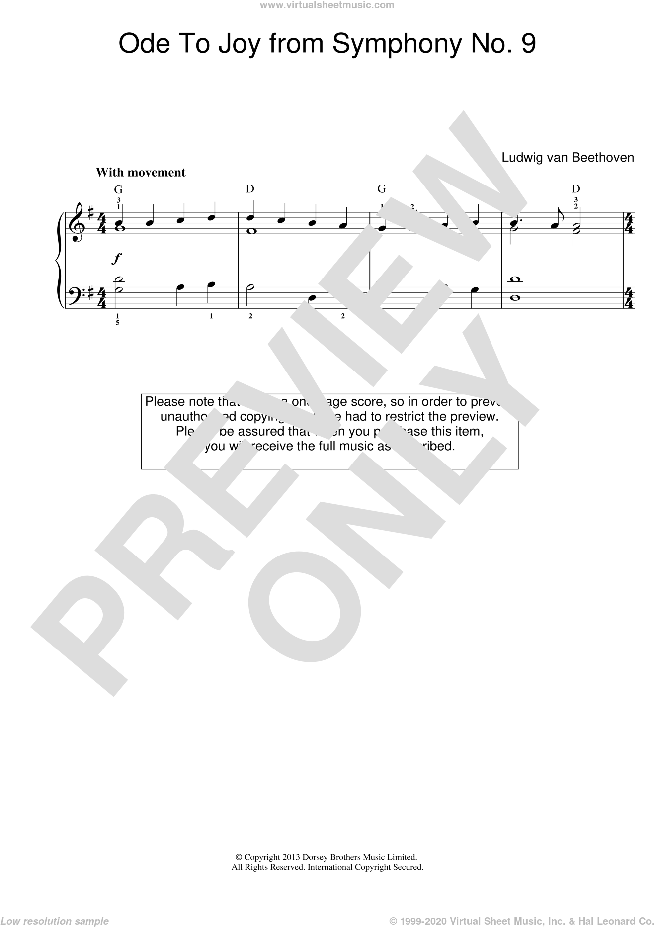 Ode To Joy from Symphony No. 9 sheet music for piano solo by Ludwig van Beethoven. Score Image Preview.