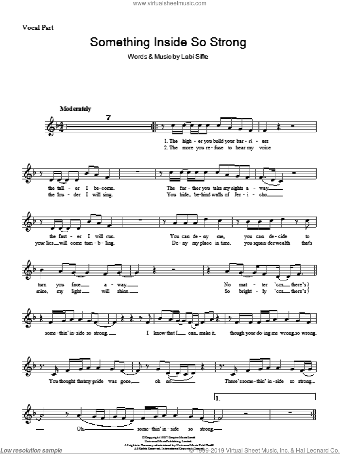 (Something Inside) So Strong sheet music for voice and other instruments (fake book) by Labi Siffre, intermediate skill level