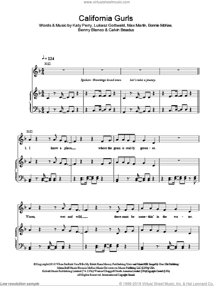 California Gurls sheet music for voice, piano or guitar by Katy Perry featuring Snoop Dogg, Snoop Dogg, Benny Blanco, Bonnie McKee, Katy Perry, Lukasz Gottwald and Max Martin. Score Image Preview.