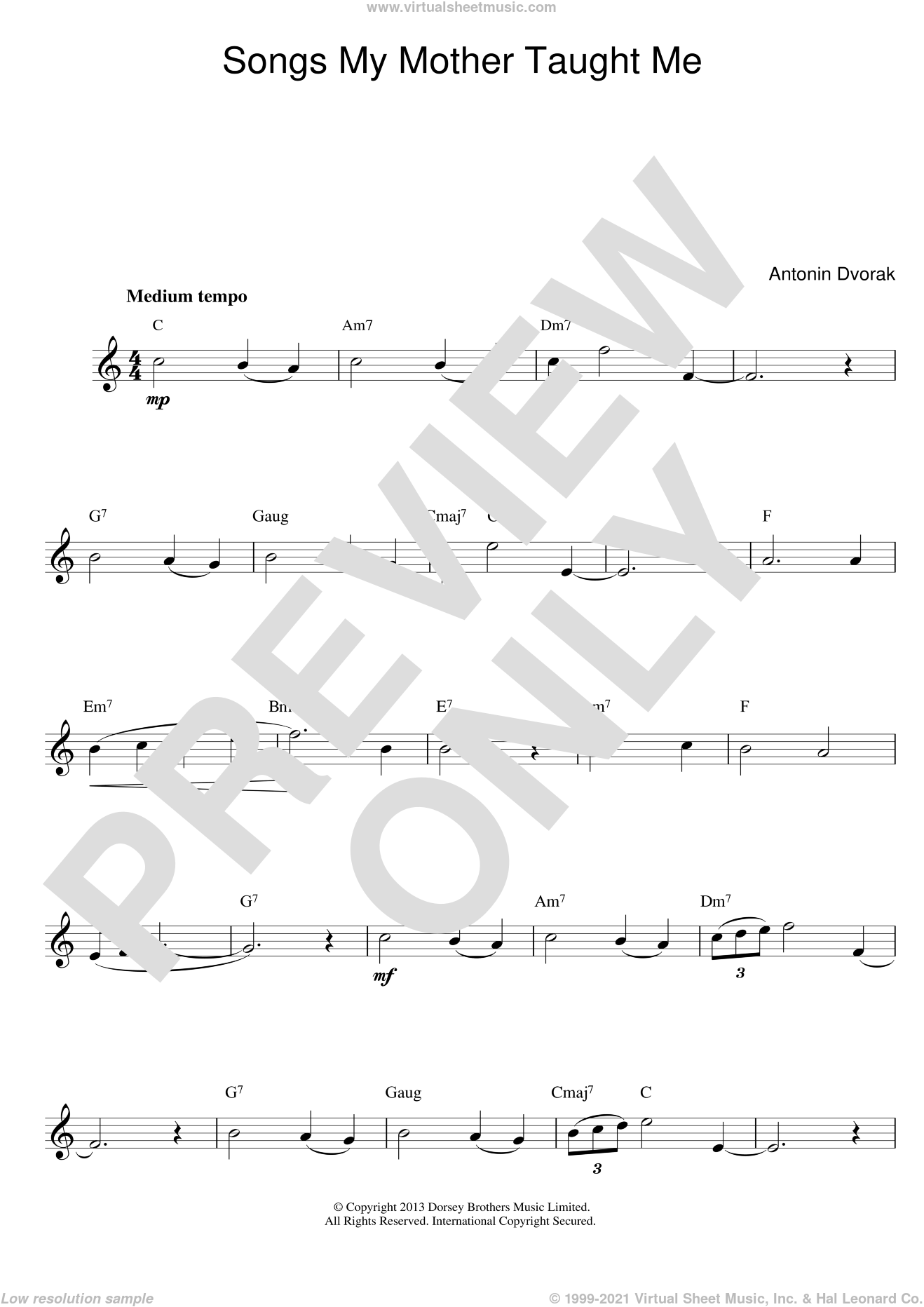Songs My Mother Taught Me sheet music for voice and other instruments (fake book) by Antonin Dvorak. Score Image Preview.