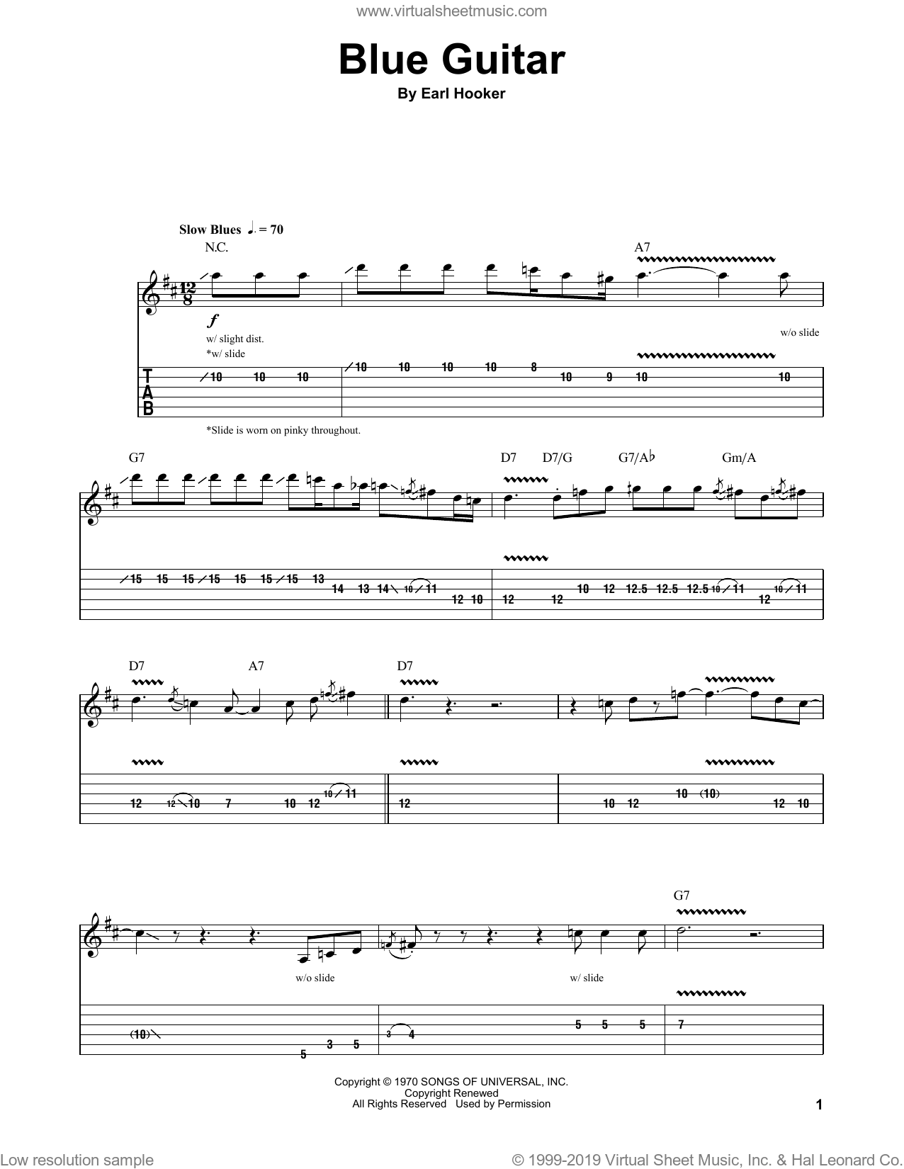 Blue Guitar sheet music for guitar (tablature, play-along) by Earl Hooker, intermediate. Score Image Preview.