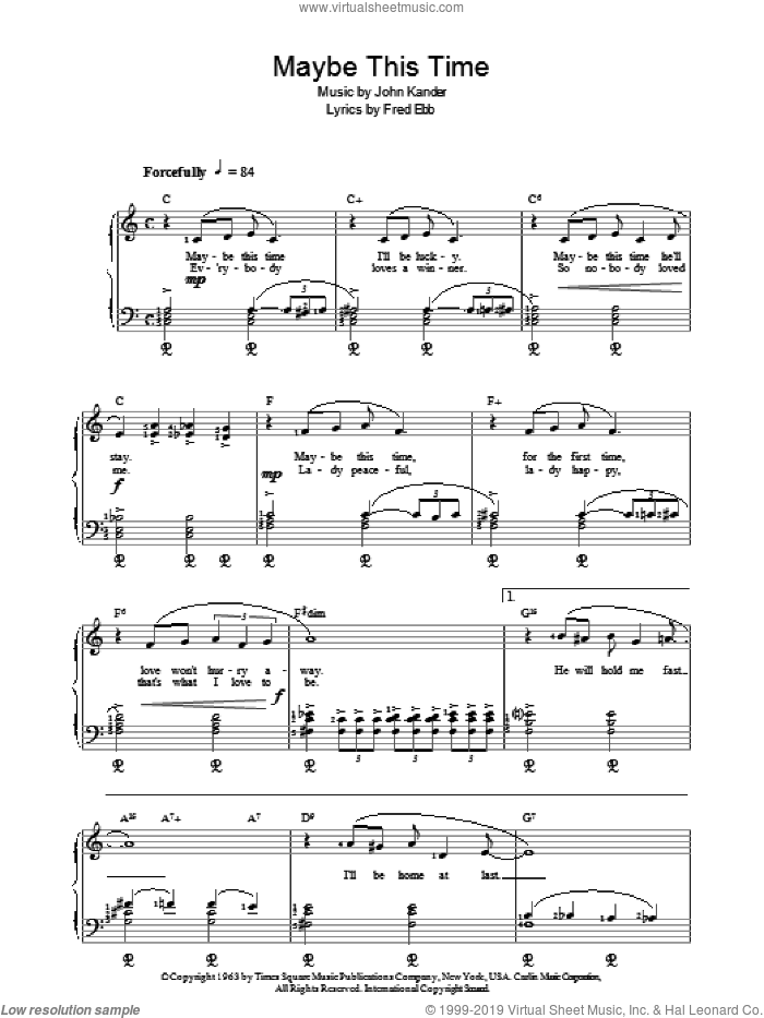 Maybe This Time, (intermediate) sheet music for piano solo by Kander & Ebb, Fred Ebb and John Kander, intermediate. Score Image Preview.