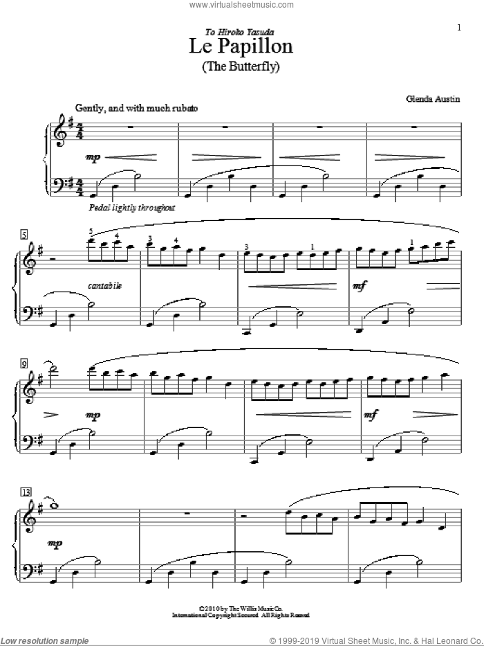 Le Papillon sheet music for piano solo (elementary) by Glenda Austin. Score Image Preview.